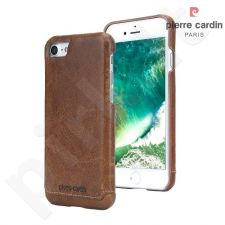Leather back cover case, Pierre Cardin, brown (iPhone 7/8)