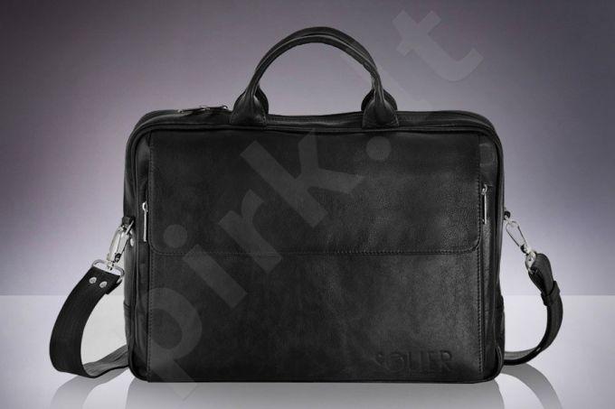 SOLIER Rothen SL30 juoda odinė rankinė vyriška, rankinė nešiojamam kompiuteriui