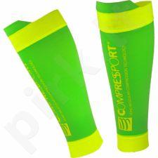 Kojinės kompresinės Compressport Calf R2 V2 Fluo Green R2V2-FL6140