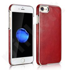 Genuine leather back cover case with metallic edges, bordeaux (iPhone 7)