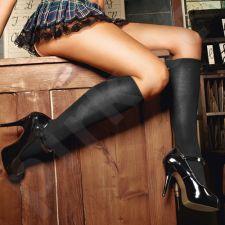 Juodos lygios kojinės iki kelių