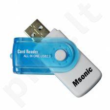 Atminties kortelių skaitytuvas Msonic SDHC/microSDHC (SD)/TF/MS/M2 USB 2.0