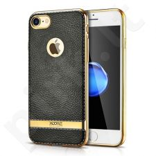 TPU leather back cover case with gold details, black (iPhone 7/8)