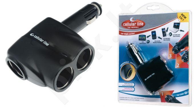 Trijų kištukų mašininis adapteris  Cellular juodas