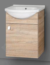 Apatinė pakabinama vonios spintelė SA 50A-11 sonoma su  praustuvu Riva 50A