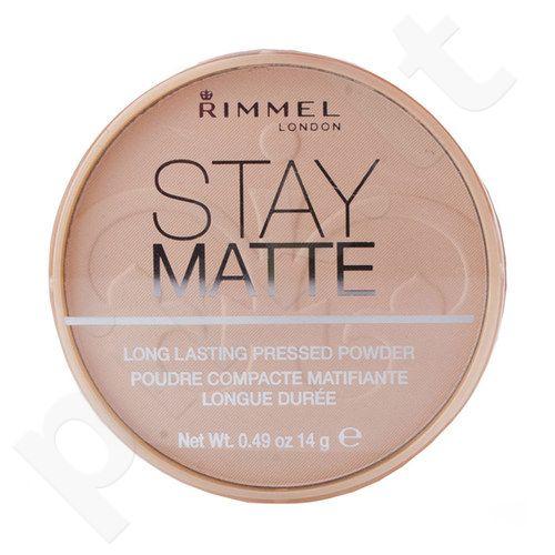 Rimmel London Stay Matte Long Lasting presuota pudra, kosmetika moterims, 14g, (002 Pink Blossom)[pažeista pakuotė]