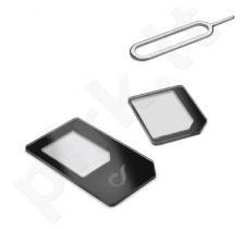 Adapterių rinkinys 2in1 nano/micro SIM Cellular juodas