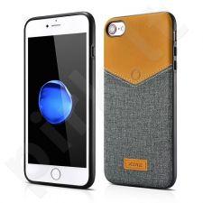 V-Neck PU back cover case, grey (iPhone 7/8)
