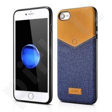 V-Neck PU back cover case, blue (iPhone 7/8)
