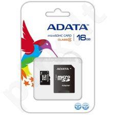 Atminties kortelė Adata microSDHC 16GB CL4 + Adapteris