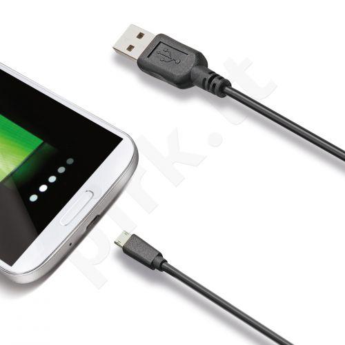 Micro USB duomenų perdavimo kabelis Celly juodas