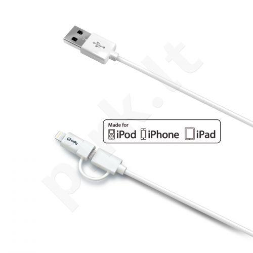 USB-Lighning 1.2 m SYNC/Power duomenų perdavimo kabelis Celly baltas