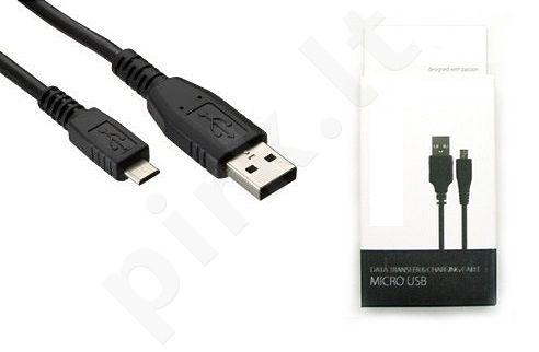 micro USB universalus laidas GT juodas