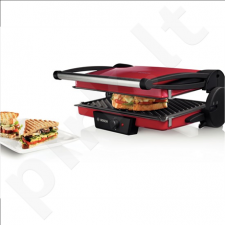 Bosch TFB4402V Contact Grill, Grilling plates with non-stick coating, Power 1800W, Red/Anthracite