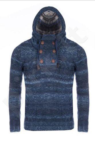 Megztinis vyrams su gobtuvu CRSM - mėlyno atspalvio 9803-1