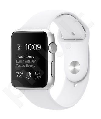 Laikrodis Apple Watch sport 42mm sidabrinis rėmelis  baltas dirželis