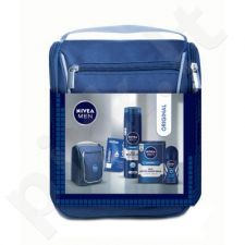 Nivea Men Mild losjonas po skutimosi Kit rinkinys vyrams, (100ml Mild losjonas po skutimosi + 200ml Mild skutimosi želė + 50ml Fresh Active Anti-Perspirant Roll-On 48H + 5,5ml Labello Original Lip Balm + krepšys)