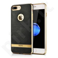 TPU leather back cover case with gold details, black (iPhone 7 Plus/ 8 Plus)