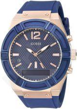 GUESS laikrodis 45mm silikonine apyranke mėlynas