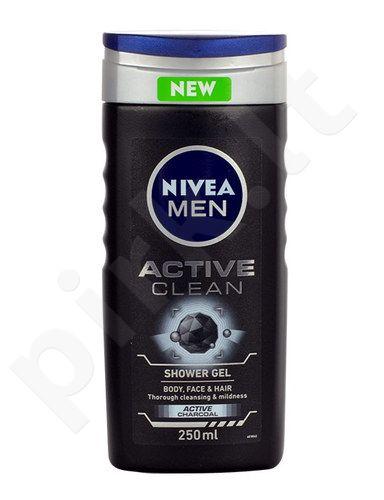 Nivea Men Active Clean dušo želė, kosmetika vyrams, 250ml