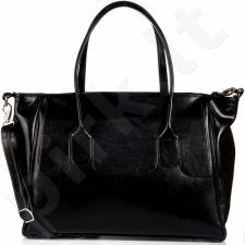 Dan-a T266 juoda elegantiška rankinė iš natūralios odos