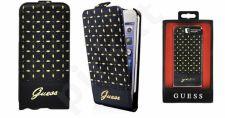 Apple iPhone 5/5S/SE atverčiamas dėklas Guess juodas/auksinis