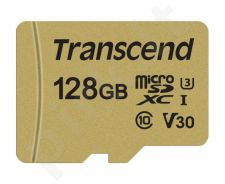Atminties kortelė Transcend microSDXC USD500S 128GB CL10 UHS-I U3 Up to 95MB/S