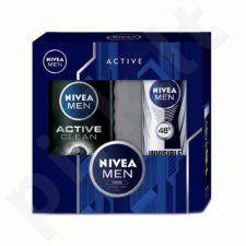 Nivea Men Active Clean kūno rinkinys vyrams, (250ml Men Active Clean dušo želė + 150ml Men Invisible For Black & White 48h Antiperspirant + 30ml Men Creme)