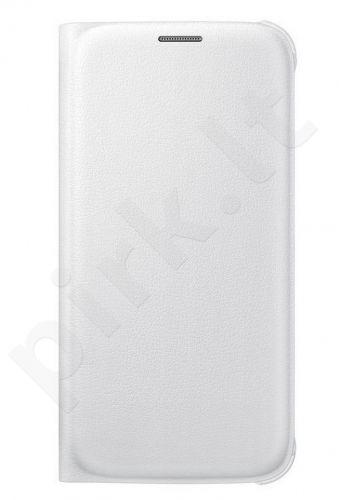 Samsung Galaxy S6 EDGE atverčiamas dėklas piniginė Odinis baltas