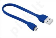 Flat Micro-USB Cable 20cm - blue