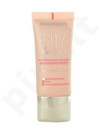 BOURJOIS Paris City Radiance Foundation SPF30, kreminė veido pudra, kosmetika moterims, 30ml, (03 Light Beige)