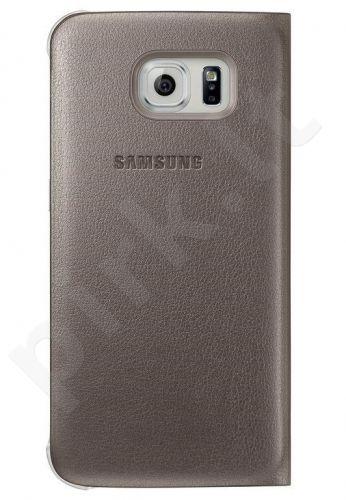 Samsung Galaxy S6 EDGE atverčiamas dėklas piniginė Odinis auksinis