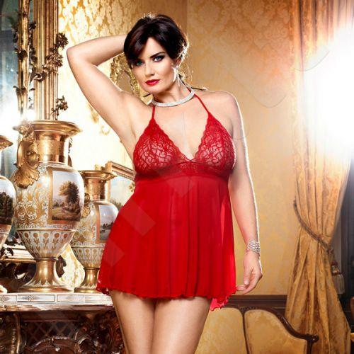 Raudona mini suknelė su gilia iškirpte - XL/XXL