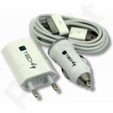 Rinkinys Techly iPhone pakrovimui, autom. ir tinkinis įkroviklis su USB laidu