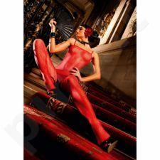 Raudona gėlėtų nėrinių kūno kojinė