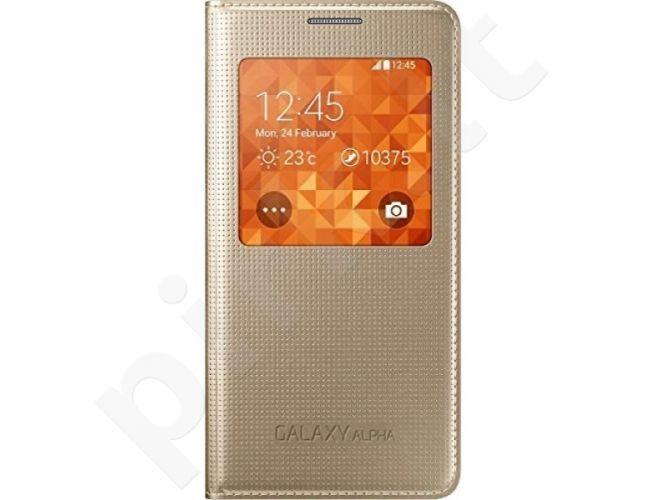 Samsung Galaxy Alpha S view dėklas auksinis