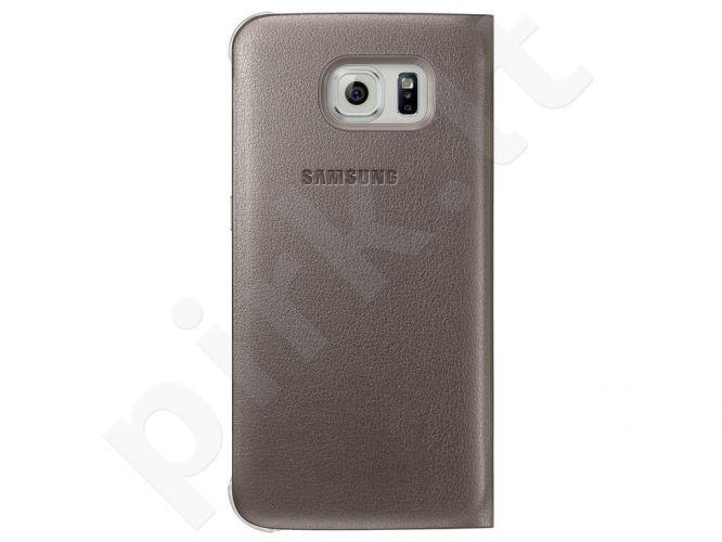 Samsung Galaxy S6 S View dėklas Odinis auksinis