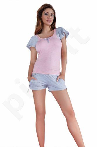 Babella pižama su šortukais  pilkos-rožinės spalvos 3019 (limituota versija)