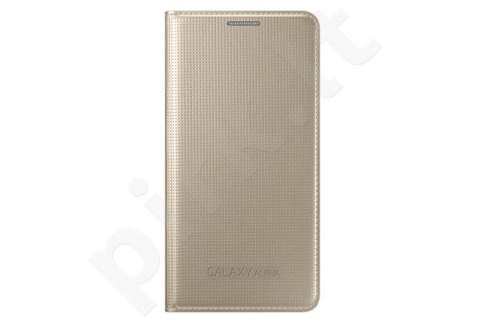 Samsung Galaxy Alpha atverčiamas dėklas auksinis