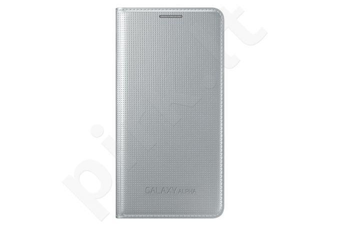 Samsung Galaxy Alpha atverčiamas dėklas sidabrinis