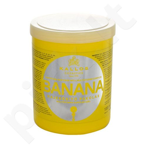 Kallos Banana Fortifying plaukų kaukė, kosmetika moterims, 1000ml