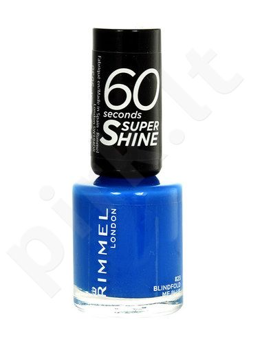 Rimmel London 60 Seconds Super Shine nagų lakas, kosmetika moterims, 8ml, (823 Blindfold Me Blue)