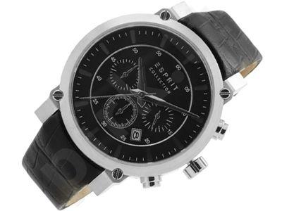Esprit EL102121F07 Poros Silver Black vyriškas laikrodis-chronometras