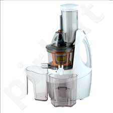 Happy Juicing HJ-2014C Slow Juicer, Power 240W Induction Motor, 75 mm Feeding Tube, White/Silver body