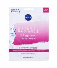 Nivea Natural Radiance, 10 Minutes Sheet Mask, veido kaukė moterims, 1pc