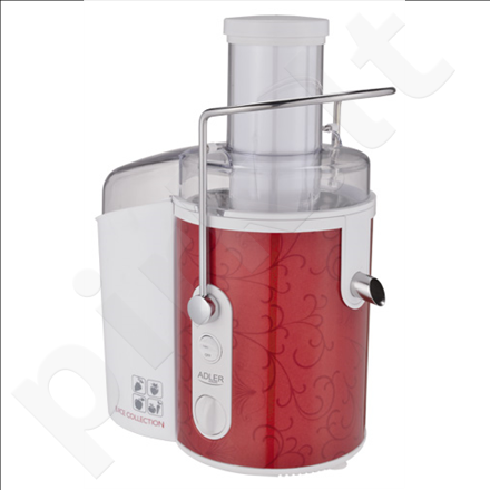 Adler AD 4111 Juice extractor, Powerful motor, Extra large feeding tube, Anti-drip system, Power 1000W