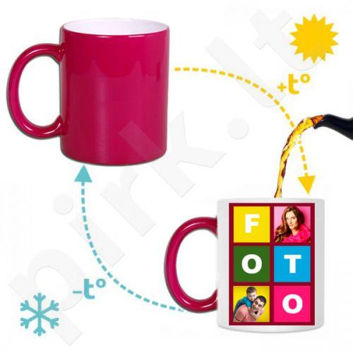 Magiškas rožinis puodelis su Jūsų pasirinkta nuotrauka