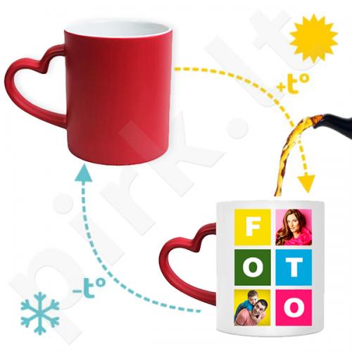 """Magiškas raudonas puodelis """"Širdelė"""" su Jūsų pasirinkta nuotrauka"""