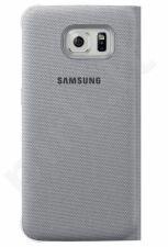 Samsung Galaxy S6 atverčiamas dėklas piniginė medžiaginis sidabrinis