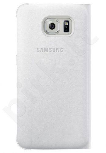 Samsung Galaxy S6 atverčiamas dėklas piniginė Odinis baltas